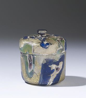 Roman glass - This pyxis is exemplary of luxury Roman glassware, ca. late 1st century BC. Walters Art Museum, Baltimore