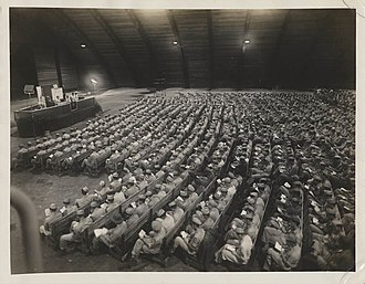 Military history of Jewish Americans - Servicemen of the 20th Air Force stationed in Guam during World War II participate in a Rosh Hashanah service.