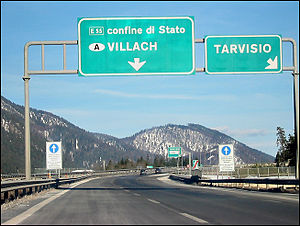Autostrada A23 (Italy) - The A23 motorway near the Italian/Austrian border.