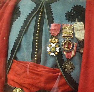 Papal Zouaves - Medals of a papal zouave, blue original uniform in collections of the Royal Museum of the Armed Forces, Brussels