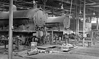 Rugby railway station - Inside the Repair Shops at Rugby Locomotive Depot in 1953