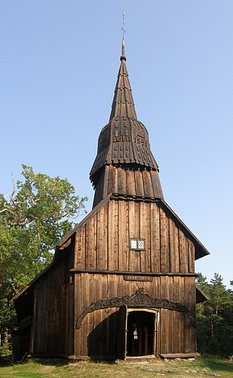 Ruhnu stave church, built in 1644, is the oldest surviving wooden building in Estonia Ruhnu puukirik.jpg