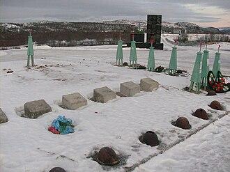 """Zapadnaya Litsa River - """"Memorial for the Defenders of the Soviet Arctic"""" on the Litsa River"""