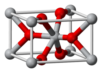 Oxide - The unit cell of rutile. Ti(IV) centers are grey; oxide centers are red. Notice that oxide forms three bonds to titanium and titanium forms six bonds to oxide.