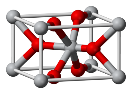 The unit cell of rutile. Ti(IV) centers are grey; oxide centers are red. Notice that oxide forms three bonds to titanium and titanium forms six bonds to oxide. Rutile-unit-cell-3D-balls.png