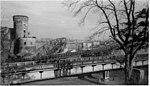 Südbrücke Mainz mit Brückenturm und Marshallbrücke und EÜ Weisenauer Straße um 1946.jpg