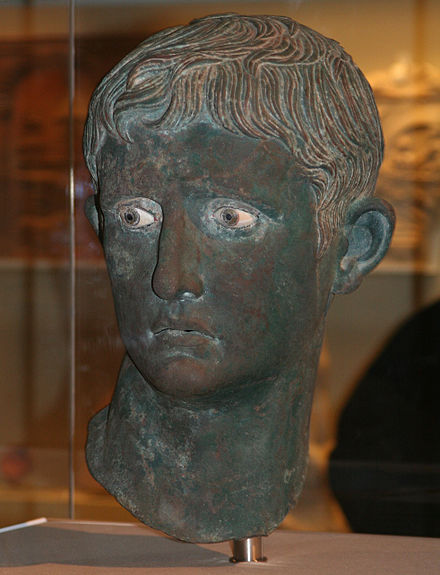 The Meroe Head of Augustus, bronze Roman portraiture bust from Meroe, Kingdom of Kush (Nubia, modern Sudan), 27-25 BC SFEC BritMus Roman Modification1.jpg
