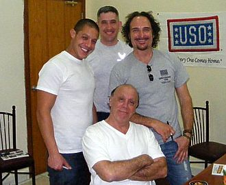 Kim Coates - Coates (right) joins Theo Rossi and Dayton Callie on a USO visit to Southwest Asia.