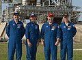 STS-135 crew at Launch Pad 39A (closeup).jpg