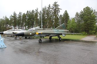 Saab 35 Draken - Saab 35FS Draken (DK-241), formerly in Finnish service, in the Aviation Museum of Central Finland. In the background is two-seat trainer Saab 35CS Draken (DK-270).