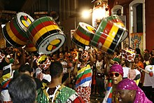 Samba-reggae drummers performing during the Brazilian festival of Carnaval