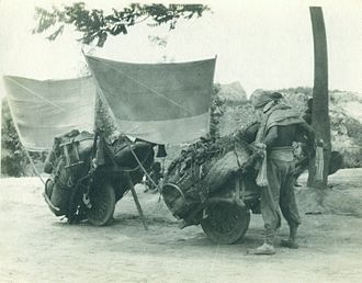 Wheelbarrow - Wheelbarrows near Xi'an, c.1905 by Baptist missionary John Shields