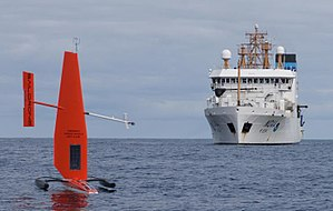 Unmanned surface vehicle - Saildrone with NOAAS ''Oscar Dyson'' (R 224) in background