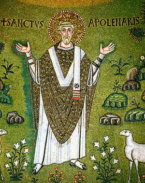 Apollinaris of Ravenna - Portrait Mosaic of Saint Apollinaris at the Basilica of Sant'Apollinare in Classe, Ravenna
