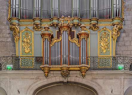 Pipe organs in the Saint Fulcran cathedral of Lodève, Hérault, France
