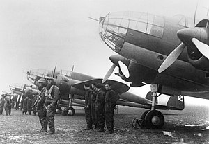 Polish Armed Forces - PZL.37 Łoś bombers with pilots and air crews, 1939