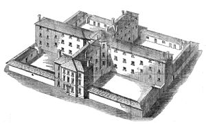 Opposition to the English Poor Laws - 1835 model design of a workhouse to hold 300 paupers segregated into four classes