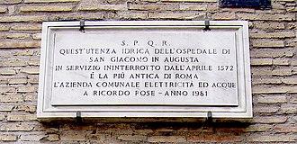 San Giacomo degli Incurabili - Image: San Giacomo Roma Targa Utenza Idrica