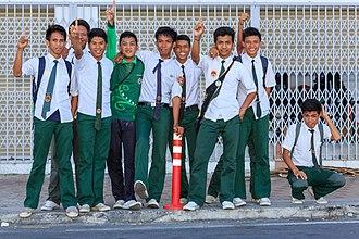 Malaysian school uniform - Malaysian secondary school boys uniform.