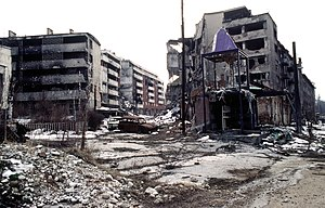 Battle of Vrbanja Bridge - The battle-damaged Sarajevo suburb of Grbavica near the Vrbanja bridge over the Miljacka river