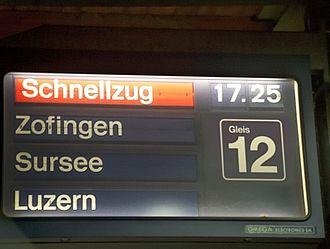 Schnellzug - Train destination board for an express train in Olten