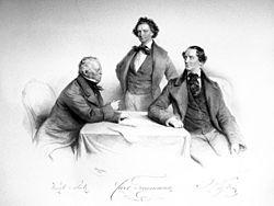 Karl Treumann mit Wenzel Scholz und Johann Nestroy, Lithographie von Josef Kriehuber, 1855 (Quelle: Wikimedia)