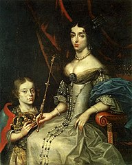 Portrait of Marie Casimire Sobieska with her son Jakub Ludwik.
