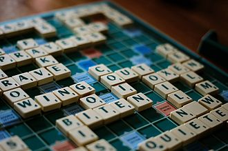 Scrabble - A game of English-language Scrabble in progress