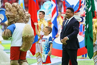 2018 FIFA World Cup opening ceremony - Zabivaka™ (left) and Ronaldo (right) were mascots for the opening ceremony.