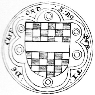 "Robert de Clifford, 1st Baron de Clifford - Seal of Robert de Clifford, 1st Baron de Clifford (c.1274–1314) affixed to the 1301 Barons' Letter to the Pope, in the Latin text of which he is described as Robertus de Clifford, Castellanus de Appelby (""Constable of Appleby Castle""). Legend: S(igillum) Roberti de Cliford (""Seal of Robert de Clifford""). Arms: Chequy or and azure, a fesse gules"