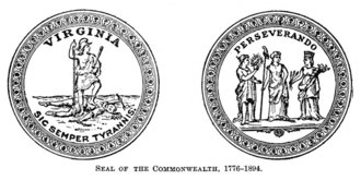Flag and seal of Virginia - The two sides of the state seal of the Commonwealth of Virginia