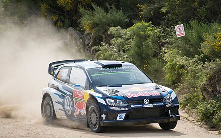 Sebastien Ogier at the 2016 Rally de Portugal with Volkswagen Polo R WRC. Sebastien Ogier Baiao Rally de portugal 2016.jpg