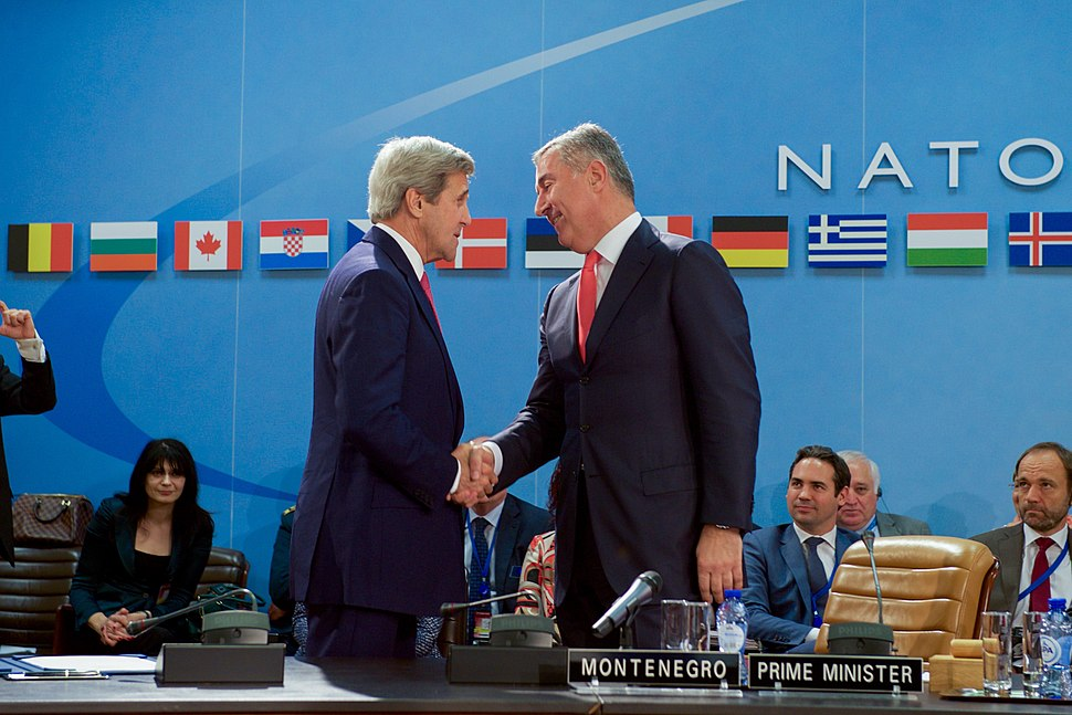 Secretary Kerry Shakes Hands With Montenegrin Prime Minister Djukanovic After Signing an Accession Protocol to Continue Montenegro's Admission to NATO in Brussels (27113868975)
