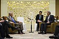 Secretary of Defense Chuck Hagel meets with Singaporean Minister of Defense Ng Eng Hen at the Shangri-La Dialogue in Singapore (2).jpg