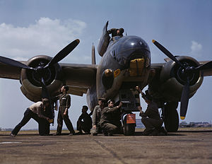 Douglas A-20 Havoc - Servicing an A-20 bomber, Langley Field, Va., July 1942