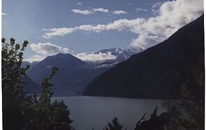 Seton Portage - View of Seton Lake from the hills above Seton Portage.
