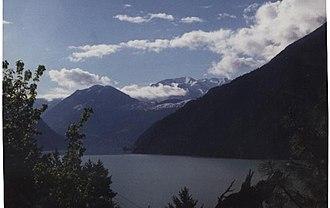 Seton Portage - View of Seton Lake from the hills above Seton Portage.