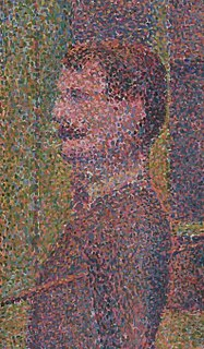 Pointillism technique of painting with small, distinct dots