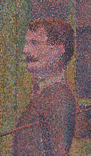 Pointillism - Detail from Seurat's Parade de cirque, 1889, showing the contrasting dots of paint which define Pointillism