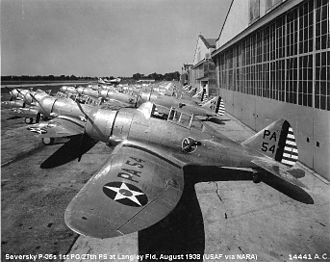 27th Fighter Squadron - Seversky P-35s, 1938. 36-354 in foreground