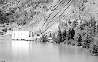 Bridge River Power Project - Bridge River No. 1 Powerhouse on Seton Lake, 1950s, looking west.  The townsite is immediately out of frame to the left