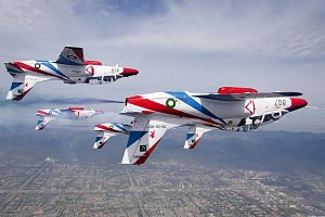 Sherdils - Sherdils K-8 Karakorums during aerobatics over Islamabad in the team's previous colour scheme