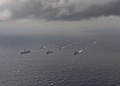 Ships from the Indian Navy, Japan Maritime Self-Defense Force (JMSDF) and the United States Navy sail in formation in the Bay of Bengal during exercise Malabar 2017.jpg