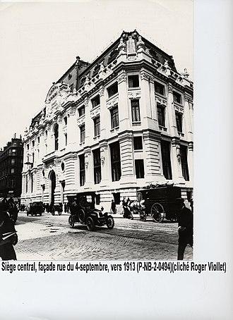 Crédit Lyonnais headquarters - HQ, side of rue du Quatre-Septembre in 1913
