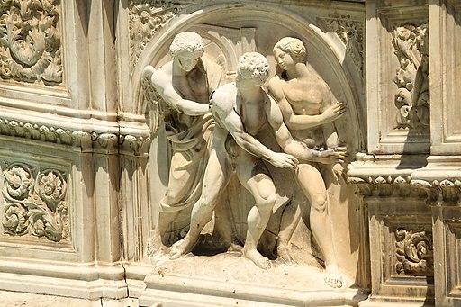 Piazza del Campo, Fonte Gaia (het rechtse zijpaneel met de Verdrijving uit de Tuin van Eden