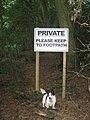 Sign on footpath - geograph.org.uk - 1438092.jpg