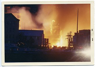 St. Michael's Cathedral (Sitka, Alaska) - Fire at St. Michael's Cathedral, 1966.