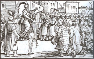 Skanderbeg - Skanderbeg addressing the people, 16th-century engraving by Jost Amman