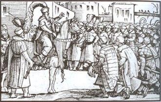 Skanderbeg - Skanderbeg addressing the people, 16th-century engraving by Jost Amman