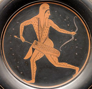 Epiktetos - Scythian archer, running while looking backwards and pulling an arrow from his quiver, cup, circa 520/500 BC. British Museum.